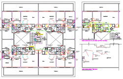 Multi-flooring hotel sanitary installation layout plan dwg file