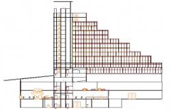 Multi-flooring hotel side sectional view details dwg file