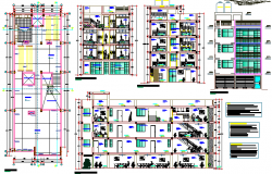 Multi-flooring housing building architecture project dwg file