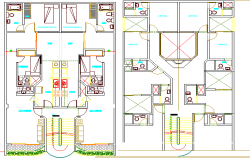 Multi-flooring housing building structure details dwg file