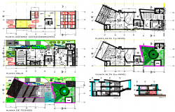 Multi-flooring management college architecture project dwg file