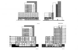 Multi-flooring maternity hospital facade and back elevation and section details dwg file