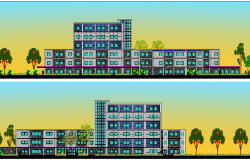 Multi-flooring multi-specialty hospital front and back elevations dwg file