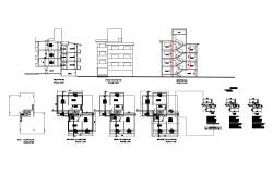 Multi-flooring municipal row house detailed architecture project dwg file