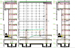 Multi-flooring office building architecture project dwg file