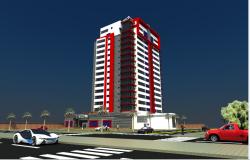 Multi-flooring office tower building 3d design dwg file