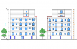 Multi-flooring residential building elevation dwg file