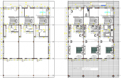 Multi-flooring residential building layout plan details dwg file