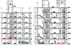 Multi-flooring residential building side sectional view dwg file