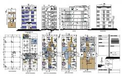 Multi-flooring residential flat building 2d view layout plan, elevation and sectional detail dwg file