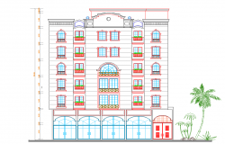 Multi-flooring residential housing apartment front elevation details dwg file