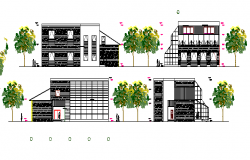 Multi-flooring restaurant all elevation and section details dwg file