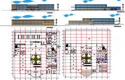 Multi-flooring shopping center architecture project dwg file