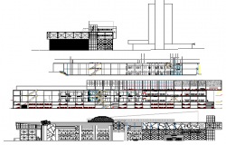 Multi-flooring shopping center elevation and section details dwg file