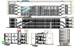 Multi-flooring shopping mall elevation and sectional details dwg file