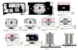 Multi-functional building detail elevation 2d view layout plan