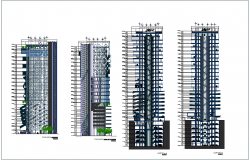 Multi functional building elevation and section view for high rise building dwg file