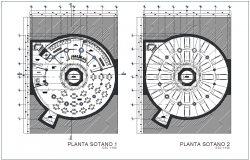 Multi functional building first and second floor plan dwg file