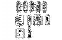 Multi-level apartment building detailed architecture project dwg file