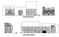 Multi-level bank office building elevation details dwg file