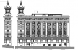 Multi-level government building front elevation view details dwg file