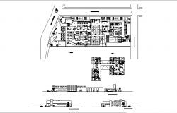 Multi-level hospital all sided elevation and distribution plan details dwg file