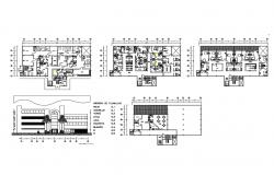 Multi-level hospital main elevation and floor plan details dwg file