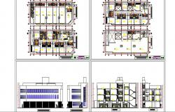 Multi-level hotel building elevation, section and floor plan details dwg file