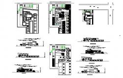 Multi-level hotel elevation, section, floor plan and auto-cad details dwg file