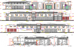 Multi-level mini shopping mall elevation and sectional view dwg file