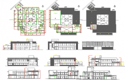 Multi-level office building elevation, section and floor plan details dwg file