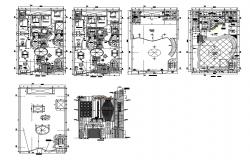 Multi-level residential building floor plan cad drawing details dwg file