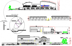 Multi-level shopping mall architecture project details dwg file