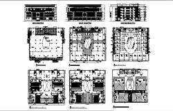 Multi-level shopping mall elevation, section and floor plan details dwg file