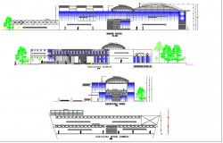 Multi-level shopping mall elevation and cut sectional details dwg file