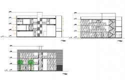 Multi-level shopping mall elevation and section details dwg file