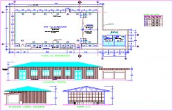 Multi pal use room with distribution plan,elevation and section view and door and window detail dwg file