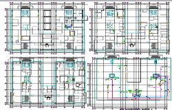 Multi-purpose apartment building floor plan details dwg file