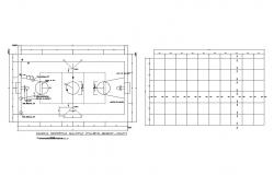 Multi-purpose sports ground section and line cad drawing details dwg file