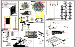 Multi-purpose urban furniture details dwg file