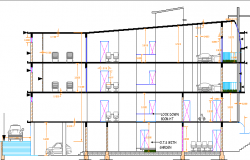 Multi-specialty and multi flooring hospital sectional view dwg file