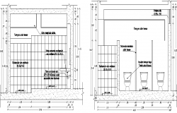 Multi-store bathroom for women of office dwg file