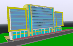 Multi-story administrative building 3d elevation dwg file