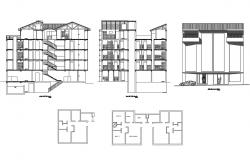 Multi-story apartment building all sided elevation, section and auto-cad details dwg file