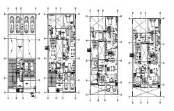 Multi-story apartment building floor plan and electrical layout plan cad drawing details dwg file