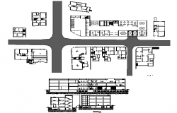 Multi-story bank office building architecture details dwg file