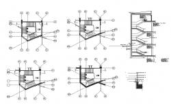 Multi-story building's staircases constructive sectional details dwg file