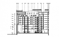 Multi-story building detail sectional plan 2d view layout file