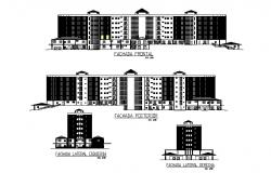 Multi-story civil hospital all sided elevation cad drawing details dwg file