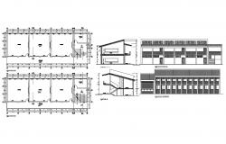 Multi-story college building elevation, section and floor plan details dwg file